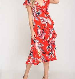 Tropical Ruffle Wrap Dress