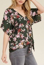 Floral Button Down Tied Blouse