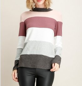 Brushed Knit Color Block Sweater