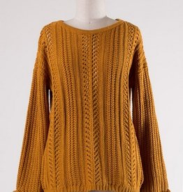 Semi Open Cable Knit Sweater