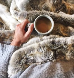 Cozy Grey Faux Fur Throw