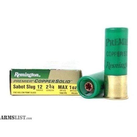 Remington 12ga 2 3/4 Max 1 oz copper solid slug