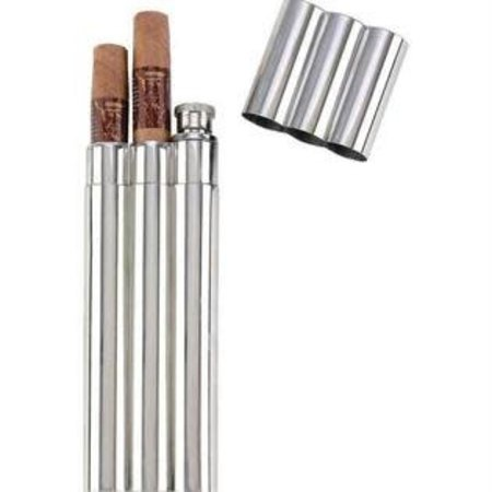 2 Oz. Flask With Cigar Tubes