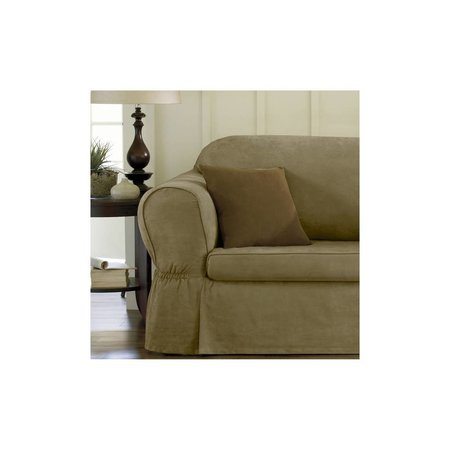 Maytex Piped Suede 2-Piece Sofa Slipcover, Sage