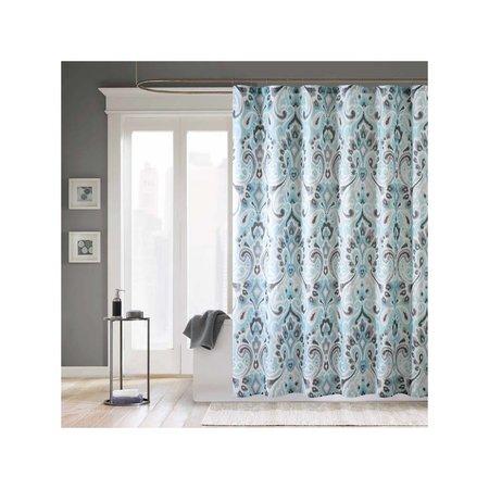 Home Essence Milan Microfiber Shower Curtain, Blue