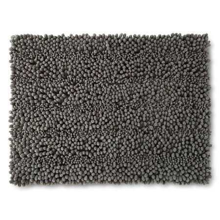 Chenille Lines Bath Rug Collection Retangular 21inX34in Silver Gray