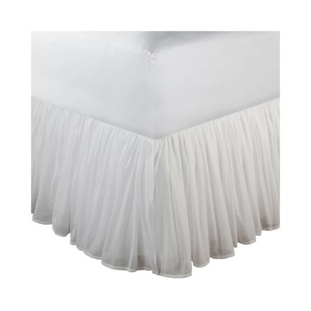 """Cotton Voile White Bed Skirt 15"""" Twin"""