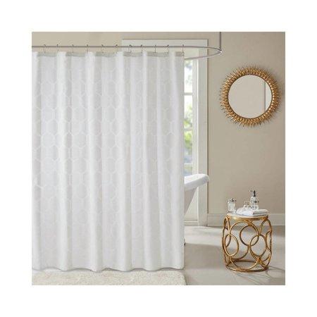 Madison Park - Winston Geometric Semi Sheer Jacquard Shower Curtain