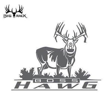 "Big Rack Silver Metalic Hunting Decal Emblem 10"" Boss Hawg Whitetail Buck"