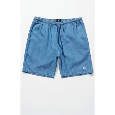 Obey Mens Keble Drawstring Denim Shorts - Light Blue