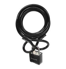 LOCK SUNLT CBL 8mmx6f W/PAD-KEY COIL BLK