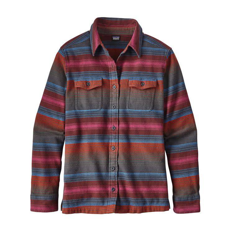 Patagonia Patagonia W's L/S Fjord Flannel Shirt Blanket Stripe: Roots Red 6