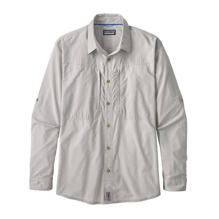 M's L/S Sun Stretch Shirt Whole Weave: Tailored Grey S