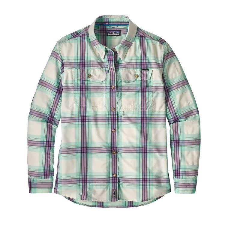 Patagonia W's L/S Sun Stretch Shirt Half Dollar: Birch White M