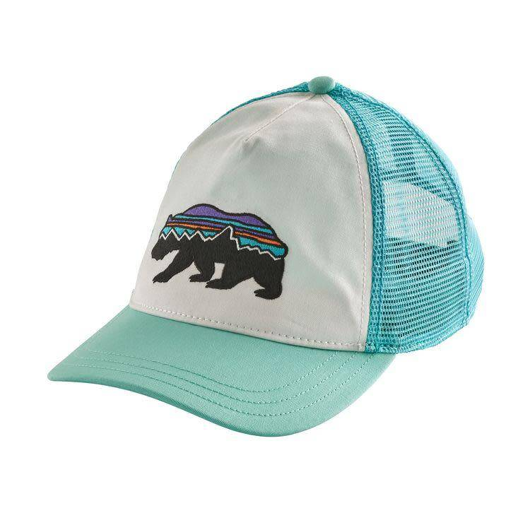 Patagonia W's Fitz Roy Bear Layback Trucker Hat White w/Bend Blue ALL