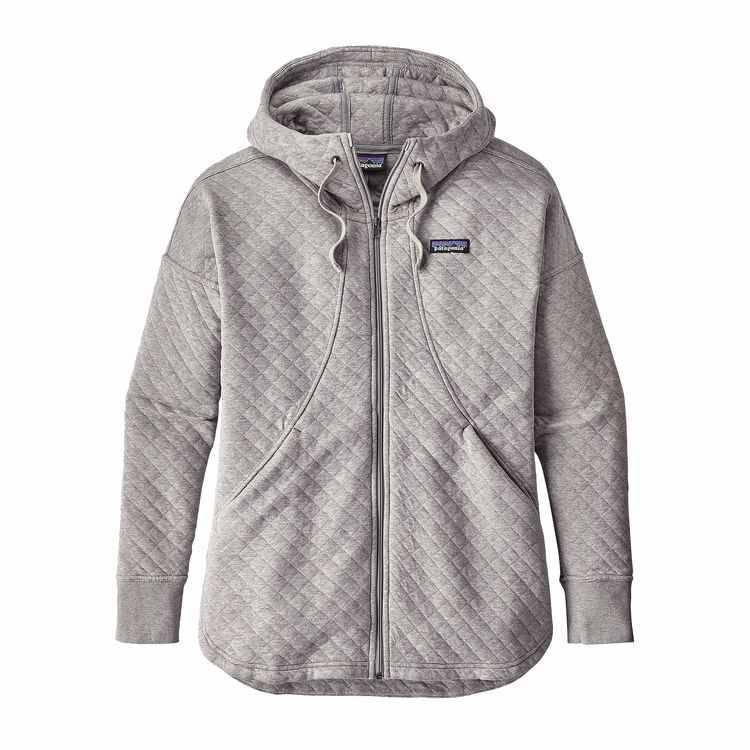 Patagonia W's Organic Cotton Quilt Hoody Drifter Grey L