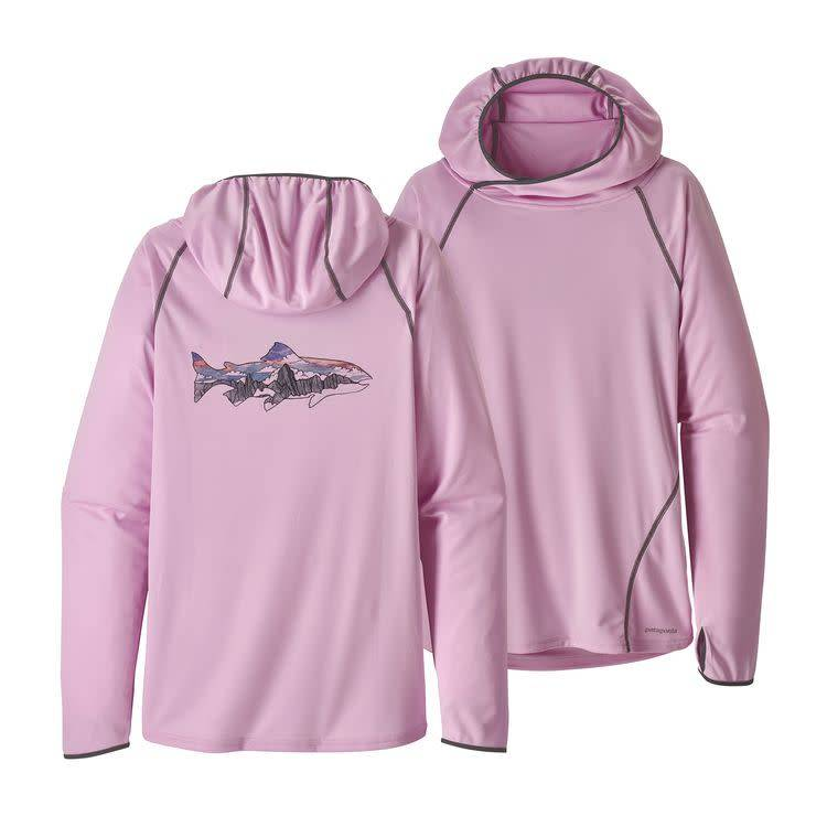 W's Sunshade Hoody Illustrated Trout: Dragon Purple XL
