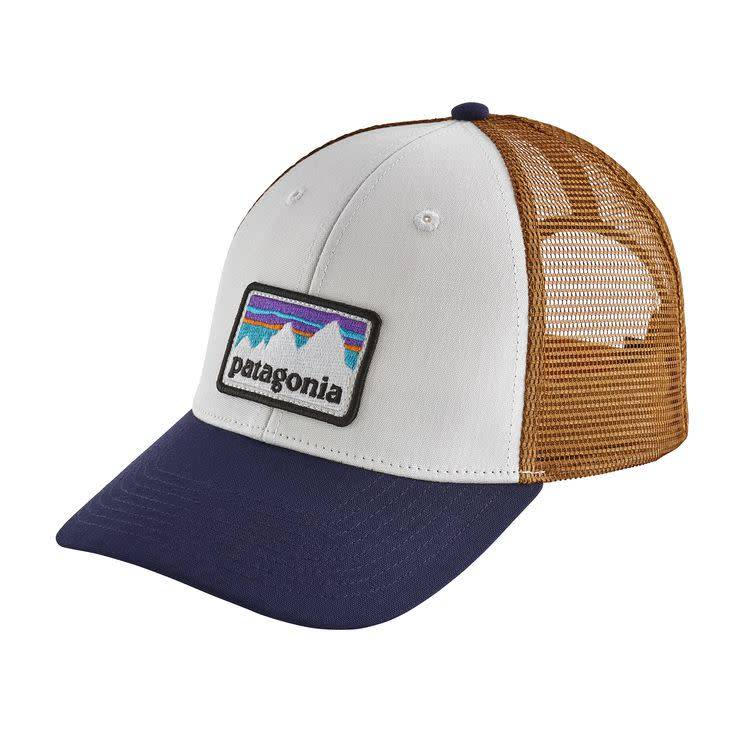Patagonia Shop Sticker Patch LoPro Trucker Hat White w/Classic Navy ALL