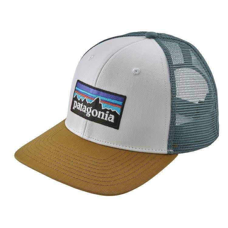 Patagonia P-6 Logo Trucker Hat White w/Kastanos Brown ALL