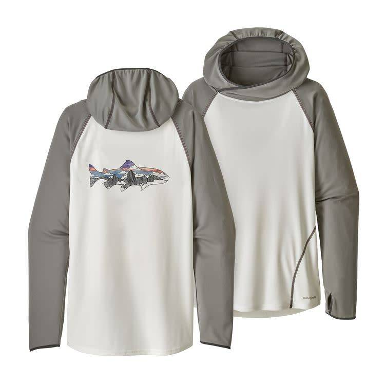 Patagonia Ws Sunshade Hoody Illustrated Trout: Birch White L
