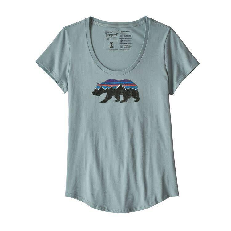 Patagonia Ws Fitz Roy Bear Organic Scoop TShirt Cadet Blue S