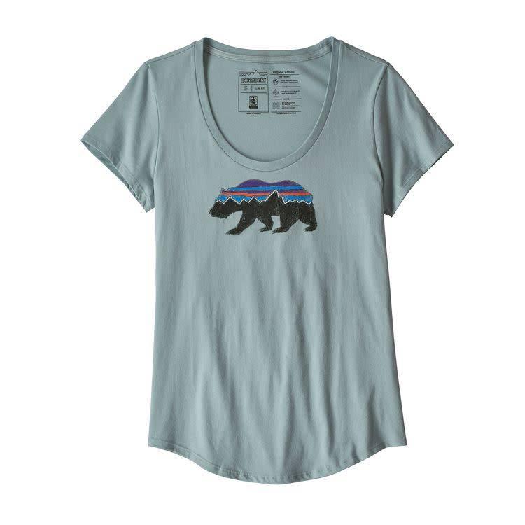 Patagonia Ws Fitz Roy Bear Organic Scoop TShirt Cadet Blue M