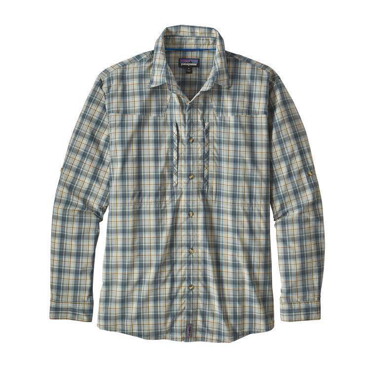 Patagonia Patagonia M's L/S Sun Stretch Shirt Riffle Hitch: Dyno White XL