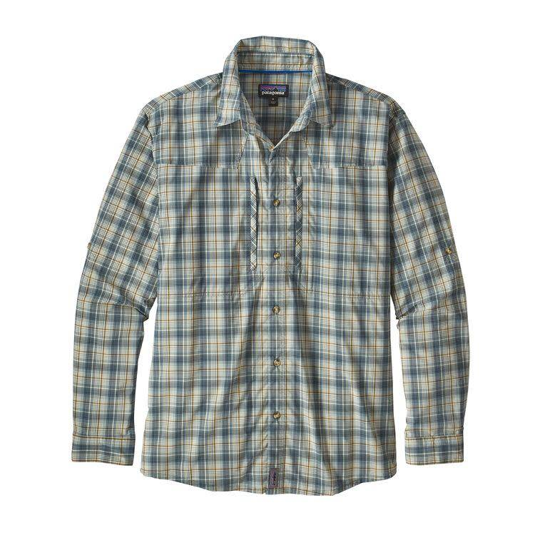 Patagonia Patagonia M's L/S Sun Stretch Shirt Riffle Hitch: Dyno White L
