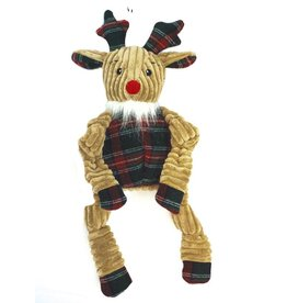 HuggleHounds HuggleHounds Christmas Toys 2017 Plush Corduroy Durable Holiday Knotties with A Plaid Sweater Rudy Large
