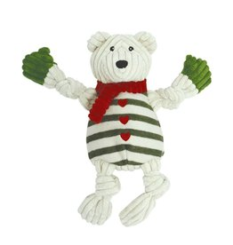 HuggleHounds Huggle Hounds Christmas Durable Plush Holiday Polar Bear with Striped Sweater Knotties 2017