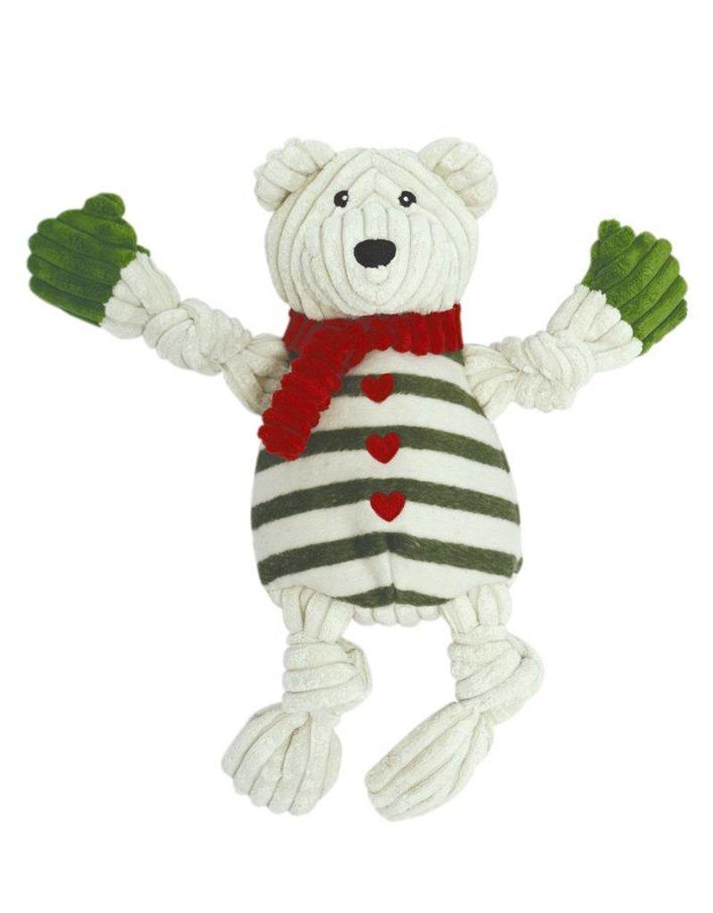 HuggleHounds Huggle Hounds Christmas Durable Plush Holiday Polar Bear with Striped Sweater Knotties 2017