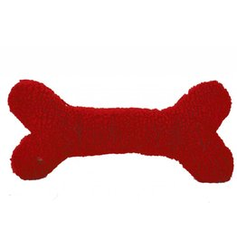 HuggleHounds HuggleHounds Christmas One Size Toys 2017 2' Red Lambswool Humongous Bone with Tuffut Lining One Size