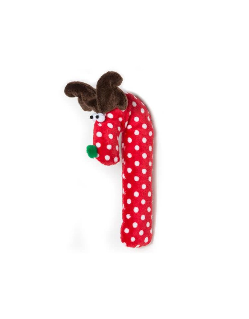 West Paw Design Holiday Soft Crinkle Cane Deer  Red/White Polka Dot