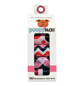 Metro Paws Poopy Packs Pink Multi 8 pack 160 ct Degradable Poop Bags
