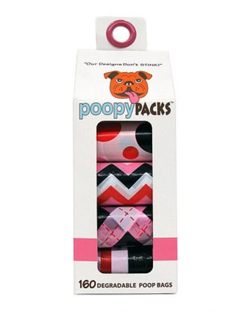 Metro Paws Poopy Packs Pink Multi 8 pack 160 ct Degradable Poop Bags