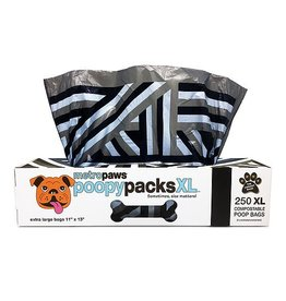 Metro Paws Poopy Packs Black Lines XL 250 Compostable Poop Bags
