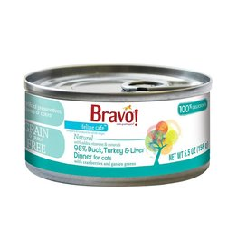 Bravo Bravo Canned Cat 95% Duck, Turkey & Liver 5.5 oz single
