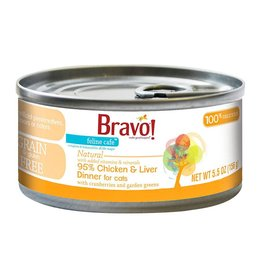 Bravo Bravo Canned Cat 95% Chicken & Liver 5.5 oz single