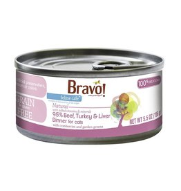 Bravo Bravo Canned Cat 95% Beef, Turkey & Liver 5.5 oz single