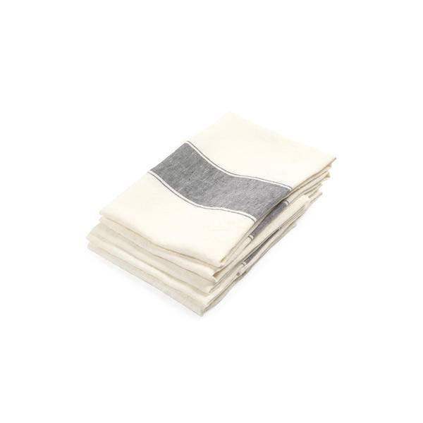 """Libeco Belgian Linens Ajaccio Linen Tea Towel, 27"""" x 27"""" - Black"""