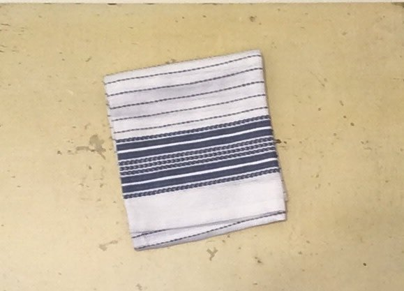 "Coyuchi Pickstitch Kitchen Towel, 20"" x 30"", Blue Border"