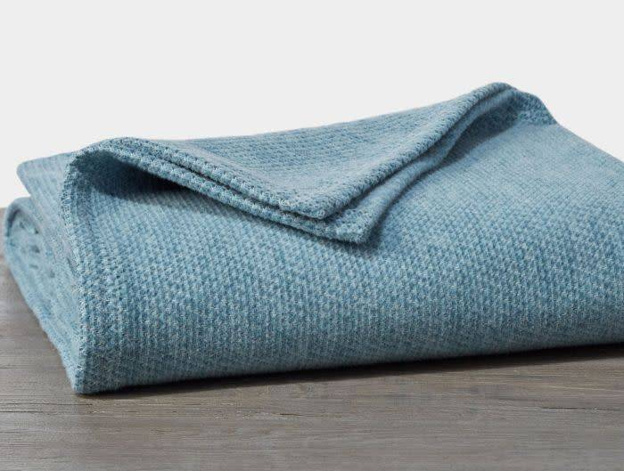 "Coyuchi Sequoia Cotton + Wool Throw, 50"" x 70"" - Aqua"