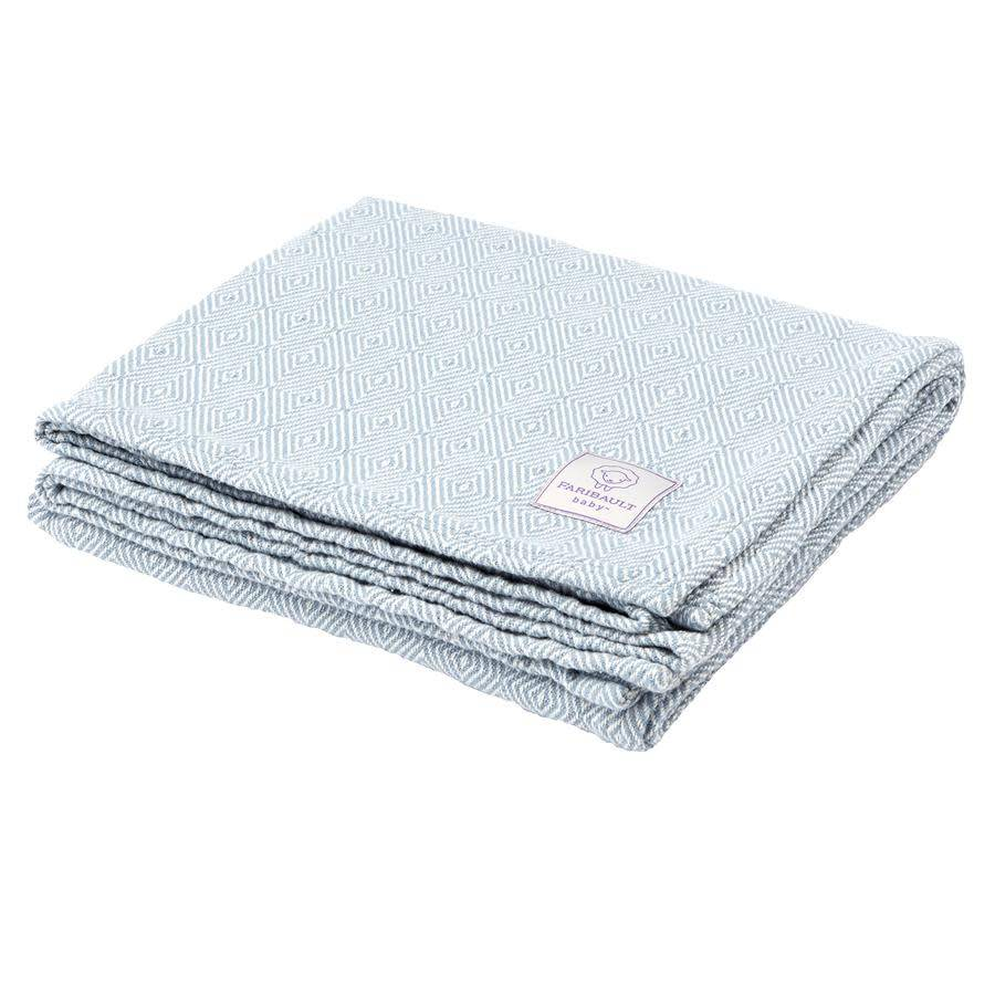 Faribault Woolen Mill Co. Baby Herringbone Cotton Blanket - White/Blue