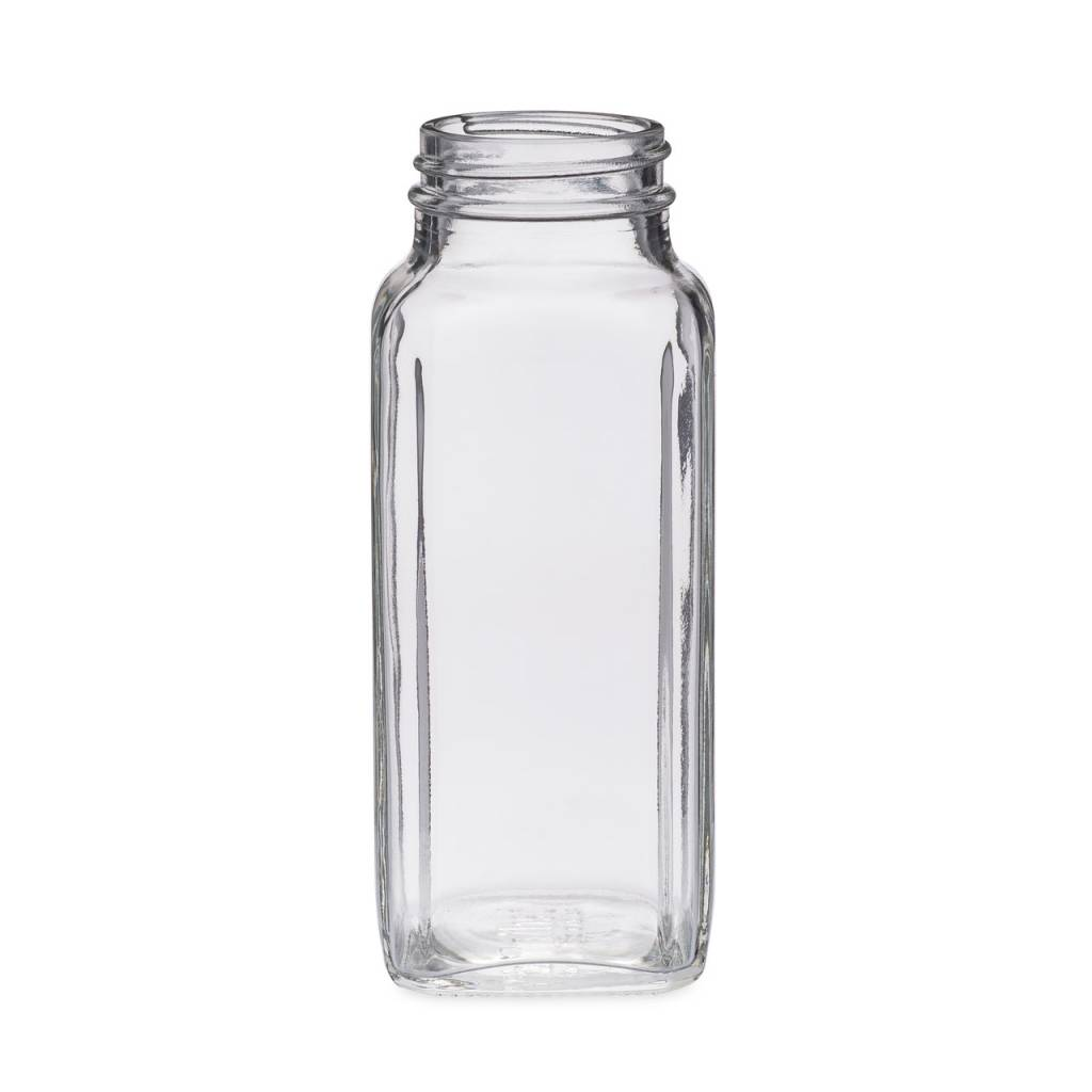 Freund Container Glass Bottle, Clear 8 oz. Square