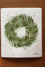Sweetgum Fern Wreath Swedish Dishcloth
