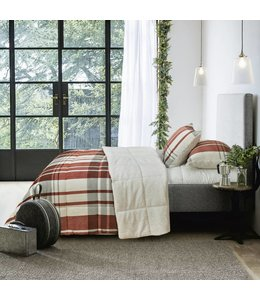 ADRIEN LEWIS WOODLAND PLAID MICRO MINK/FAUX FUR COMFORTER SET (MP2)