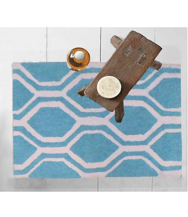 HEXAGON PATTERNED COTTON BATH MAT AST 20X28""