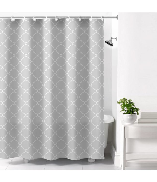 HOOKLESS CALISTA PRINTED SHOWER CURTAIN GREY