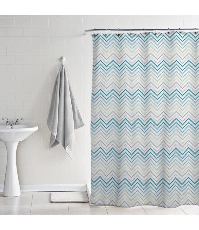 BLOOM PRINTED PEVA SHOWER CURTAIN CHEVRON MULTI