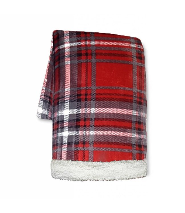 "LAUREN TAYLOR LUCAS PLAID SUPER SOFT SHERPA/MICRO FLEECE THROW 50X60"" (MP12)"